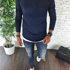 Bluza fashion barbati - bleumarin - LICHIDARE DE STOC - A2309 D8-1, L, M, S, Bumbac, Din imagine