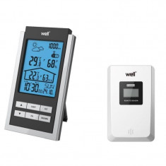 Statie meteo interior si exterior, senzor wireless, afisaj calendar, temperatura, Well