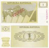 SPECIMEN SLOVENIA 1 tolarjev 1990 UNC!!!