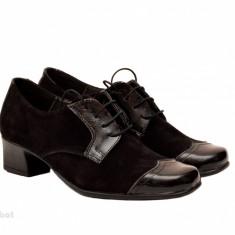 Pantofi dama eleganti din piele naturala cu toc 4 cm (Negru si Bleumarin)