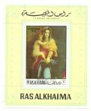 Ras al Khaima 1970 - Craciun , pictura, colita neuzata