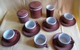 Set cafea 6 cești cu 5 farfurioare, pahar lapte, zaharniță și recipient miere