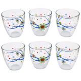 Set 6 pahare apa Pasabahce, sticla, imprimeu floral, 285 ml, Multicolor