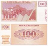 SPECIMEN SLOVENIA 100 tolarjev 1990 UNC!!!