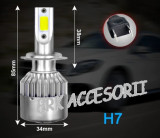 Set bec LED H7 30W - 3200 lumen CULOARE ALB RECE - 6000k 12V - 24V AL-080818-8, Universal