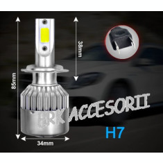 Set bec LED H7 30W - 3200 lumen CULOARE ALB RECE - 6000k 12V - 24V AL-080818-8