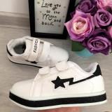 Adidasi albi negri cu scai si sclipici pantofi sport fete 25 27 28 29 30