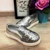 Espadrile balerini argintii cu sclipici vara pantofi papuci fetite 25, Fete, Din imagine