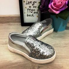 Espadrile balerini argintii cu sclipici vara pantofi papuci fetite 25 26, Fete, Din imagine