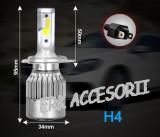 Set bec LED H4 2 FAZE 30W - 3200 lumen ALB RECE - 6000k 12V - 24V AL-080818-7