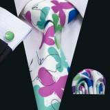 Set cravata matase butoni + batista model floral + cutie cadou, Galben, Mov, Negru, Rosu