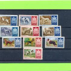 SAN MARINO 1956 Serie de 10 timbre fara guma ,tematica CAINI DE RASA., Nestampilat