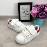 Cumpara ieftin Adidasi albi roz cu scai tenisi pantofi sport fete copii 28 30