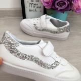 Adidasi albi argintii cu sclipici tenisi pantofi sport fete 32 33