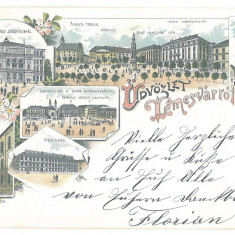 3788 - TIMISOARA, SYNAGOGUE, Romania, Litho - old postcard - used - 1898, Circulata, Printata