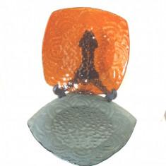 Farfurii platou semi-cristal suflate in mulaj - 2 buc. - Germania