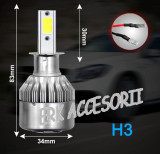 Set bec LED H3 30W - 3200 lumen CULOARE ALB RECE - 6000k 12V - 24V AL-080818-8