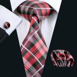 Set cravata matase butoni+batista model carouri/ cercuri + cutie cadou, Galben, Maro, Mov, Negru, Rosu, Verde