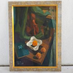 TRAIAN CORNESCU-PICTOR,GRAFICIAN ROMAN-NATURA STATICA -ULEI PE CARTON, Realism