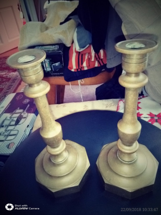 pereche sfesnice masive bronz vintage