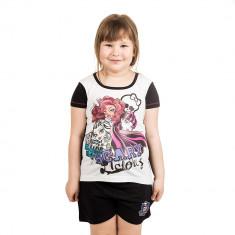 Pijama fete Monster High Scary Licious neagra cu alb