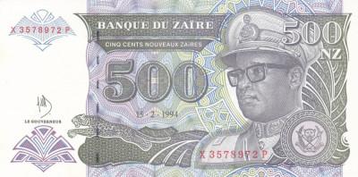 Bancnota Zair 500 Zaires 1994 - P64A UNC ( serie X - mai rara ) foto