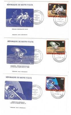 Africa - Volta Superioara, 3 -FDC-uri cosmos, misiuni in spatiu, 1973 foto