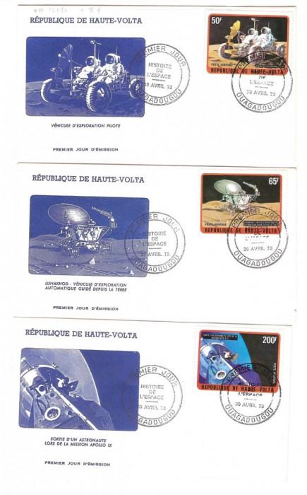 Africa - Volta Superioara, 3 -FDC-uri cosmos, misiuni in spatiu, 1973