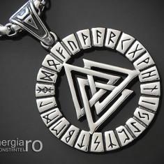 Pandant, Amuletă, Talisman, Pandantiv, Valknut Odin cu Rune INOX - cod PND111