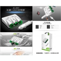 Incarcator auto 2 x USB 2.1A si priza bricheta de putere. AL-110718-3