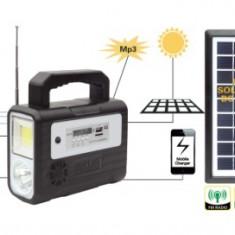 Kit Solar Lanterna LED Radio FM USB 3 Becuri 6V4Ah GD 8028
