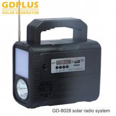 Mini solar generator de energie portabil iluminat cu kit radio solare GD 8020