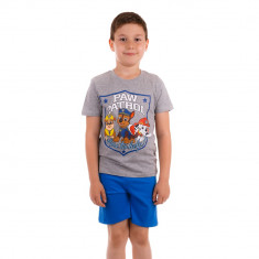 Pijama baieti Paw Patrol Here to Help tricou gri cu pantaloni albastri
