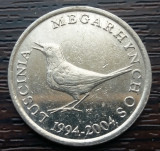 (M751) MONEDA CROATIA - 1 KUNA 2004, ANIVERSAREA A 10 ANI A MONEDEI NATIONALE, Europa