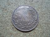 ROMANIA 2 bani 1867 Watt , CAROL I , DL2.22