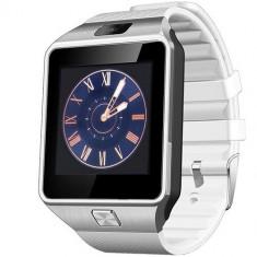 Smartwatch Rush Argintiu Si Curea Silicon Alba Cu SIM
