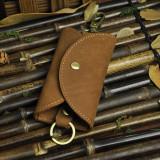 Husa portofel depozitare chei, piele naturala, maro, GD985