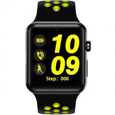 Smartwatch Exclusive Negru Si Curea Sport Negru Verde