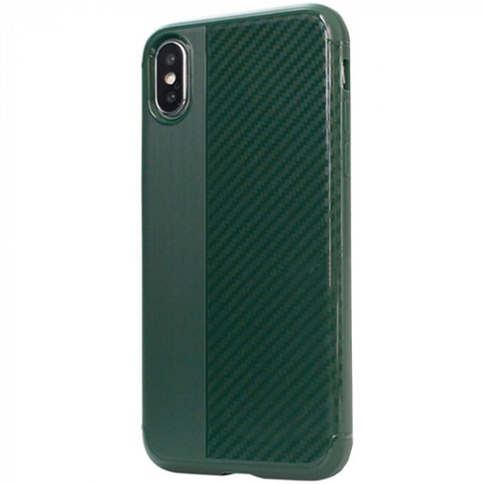 Husa Capac Spate Carbon Verde APPLE iPhone X, iPhone Xs