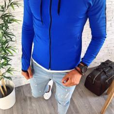Hanorac barbati albastru - hanorac barbati - hanorac slim fit - cod A2364 12-3, L, M, S, XL, XXL, Bumbac, Din imagine