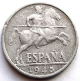 WW2 , SPANIA , 10 CENTIMOS 1945 , CAVALER MEDIEVAL !!!, Europa