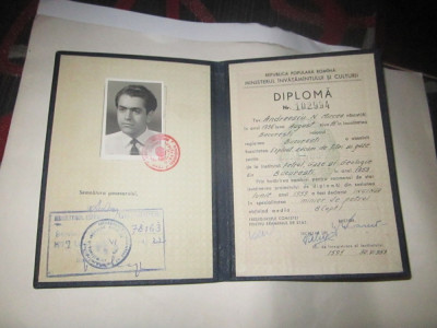 diploma rara inginer minier de petrol an 1959 a7 foto