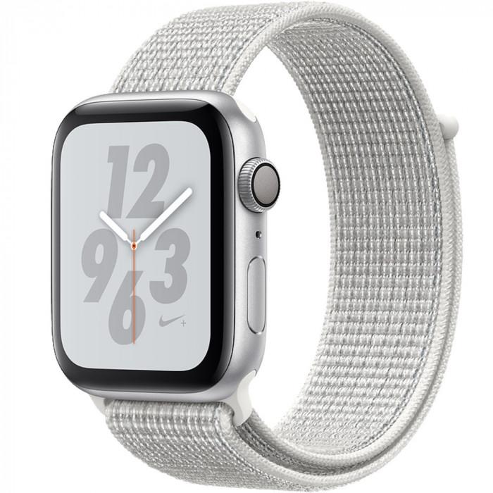 Smartwatch Watch 4 Nike Plus GPS 44MM Aluminiu Argintiu Si Curea Sport Loop Alb