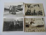Lot 4 fotografii colectie 85 x 60 mm anii 60-70:auto/moto/nava/costume populare, Alb-Negru, Romania de la 1950