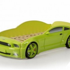 Patut masina pentru copii 184x84cm Light MG 3D Verde, MyKids