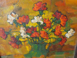 Garoafe in vas de lut, tablou in ulei pe panza /carton semnat si datat, Flori, Impresionism