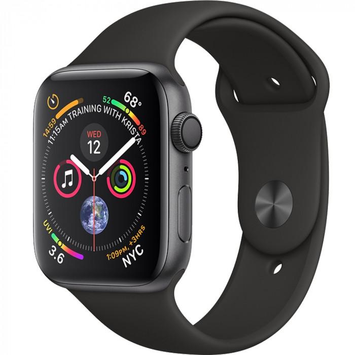 Smartwatch Watch 4 GPS 44MM Aluminiu Negru Si Curea Sport Negru