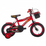 Bicicleta cu roti ajutatoare BMX rosu