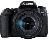Aparat Foto DSLR Canon EOS 77D + Obiectiv EF-S 18-55mm IS USM, 24.2 MP, Full HD, Wi-Fi (Negru)
