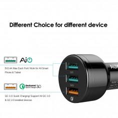 Incarcator auto fast charger, Aukey Quick Charge 3.0, 5V,  9V, 12V,  3 Ports USB